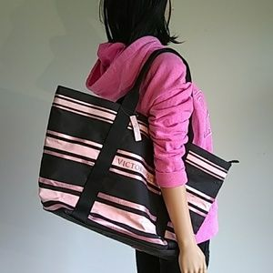 Pink Victoria's Secret hoodie and weekend bag